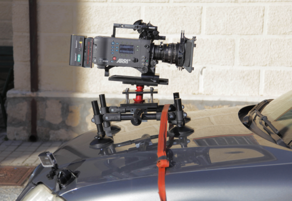 Camera Car Mount fixed to the hood of the car